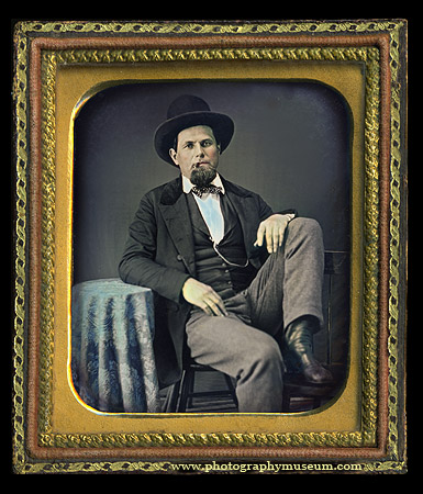 Informal pose of a man with his foot on a chair - daguerreotype portrait