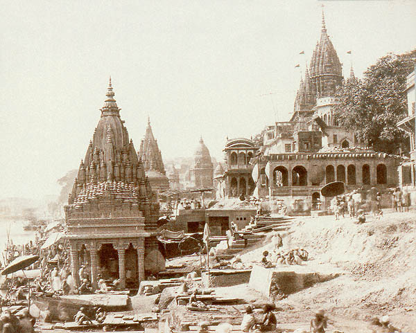 Samuel Bourne Photograph of the Temples at the Burning Gat, Benares